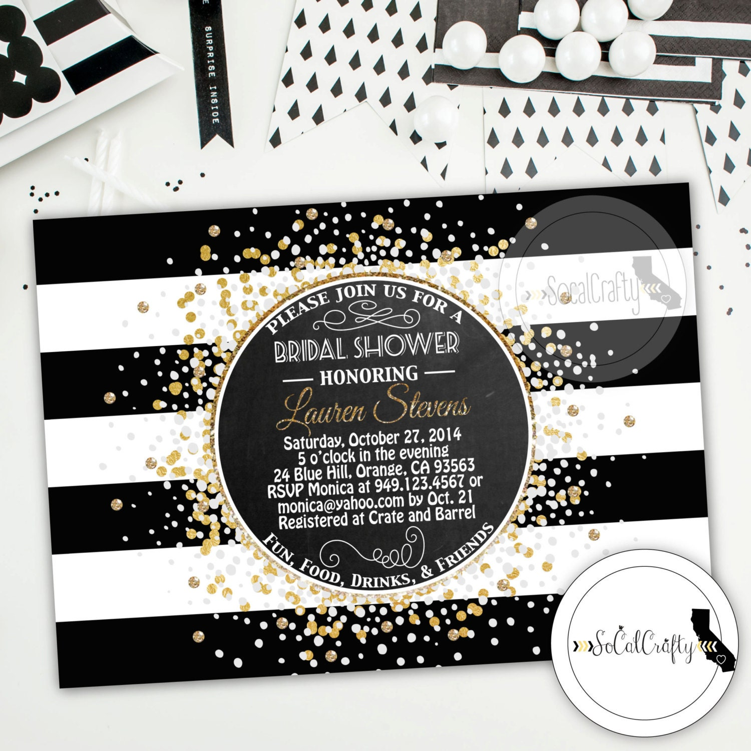 Great Gatsby Bridal Shower Invitation Printable Invitation