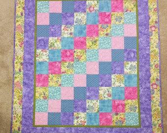 Baby Shower Gift Cute Purples and Yellows Baby Quilt