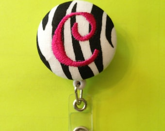 Monogrammed Covered Button Retractable Badge Reels ID Holders