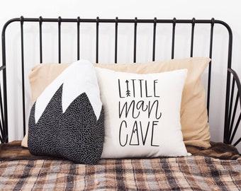 Mountain Adventure Nursery, Little Man Cave, Boys Room, Nursery Pillow, Explore, Forest Theme, Hand drawn, 16 x16, Trees, Handwritten