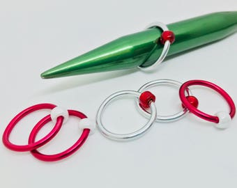 JUMBO Snag Free Stitch Markers - Holiday - Christmas - Candy Cane - Red, White and Silver- US 17 (12 mm)