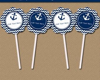 Nautical Wedding Cupcake Toppers, Nautical Birthday Cupcake Picks Beach Wedding, Nautical Theme, Nautical Party Decorations Cupcake Decor N1
