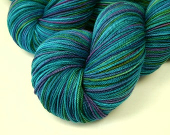 Hand Dyed Sock Yarn, Sock Weight 4 Ply Superwash Merino Wool Yarn - Aegean Multi - Blue Green Indie Dyed Fingering Weight Knitting Yarn