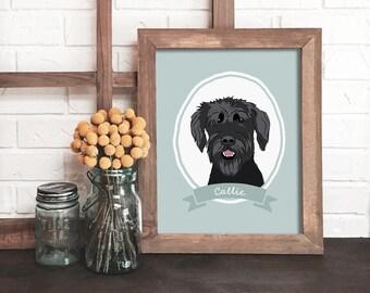 custom dog portrait, dog portrait, dog lover gift, personalized dog gift, pet keepsake, modern pet art, pet owner gift, dog memorial
