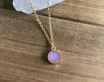 Pink Druzy Micro Necklace // Gold Bezeled Natural Druzy // Layering Necklace