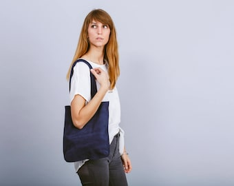 Small Blue suede bag,Navy small tote bag,Blue suede tote bag,Blue leather bag,Blue leather handbag