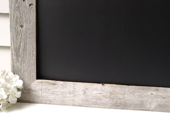 MAGNETIC Chalkboard Barnwood Frame Bulletin Board LARGE Reclaimed Recycled Weathered Gray Rustic Wood 29.5 x 41.5 Handmade Frame Made in USA