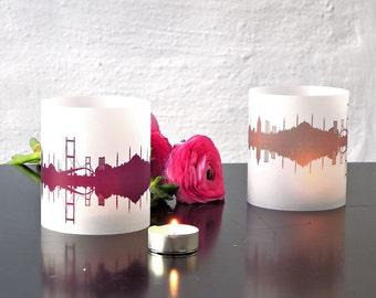 2 Light Covers ISTANBUL Skyline Print Tea Light Table Lantern, ISTANBUL luminaries centerpiece,  gift souvenir ISTANBUL romantic candlelight
