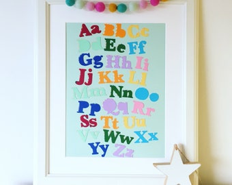 Alphabet Collage, Original Artwork, ABC Wall Art, Nursery Decor, Children's alphabet, Educational print, Nursery art, Playroom Artwork.