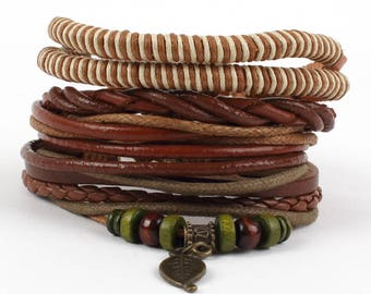 4 Pcs Braided Leather Bracelet for men Cuff Wrap Bangles Wristbands Adjustable Brown
