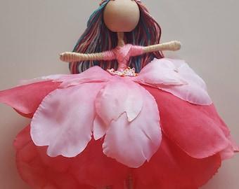 Pink Satin Flower Fairy Doll