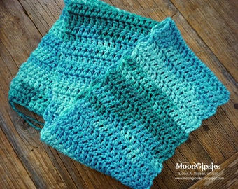 Teal Ombre - Handmade crocheted scarf