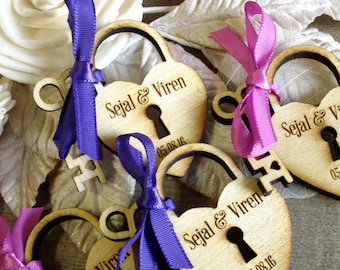 Heart and Key Wedding Favors 24 Sets