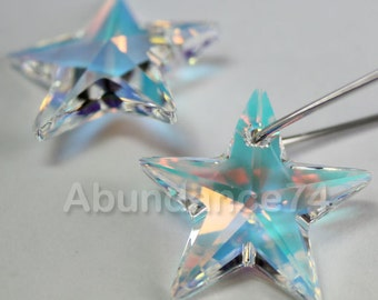 2pcs Swarovski Elements - Swarovski Crystal Pendant 6714 20mm Star Pendant - Crystal Clear AB