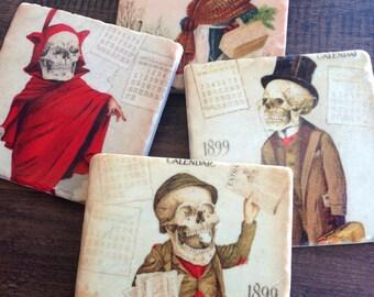 Coasters set of 4 - Skeleton Calendar Folks stone coasters