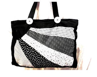 Black and white fabric zipper pouch bag