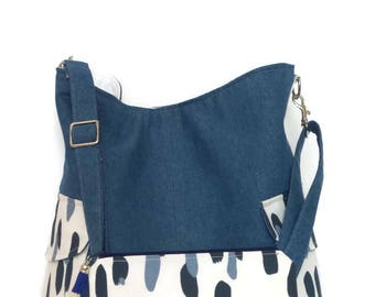 Cross body Tote Bag and matching zipper pouch / Cross body Bag / Shoulder Bag / Tote Bag/ Handbag / Purse / Tote/ denim Bag / Blue