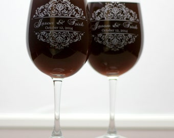Custom Wedding Wine Glasses with Classic Baroque theme (set of 2) , wedding gift, newlywed gift, bride to be,Anniversary gift