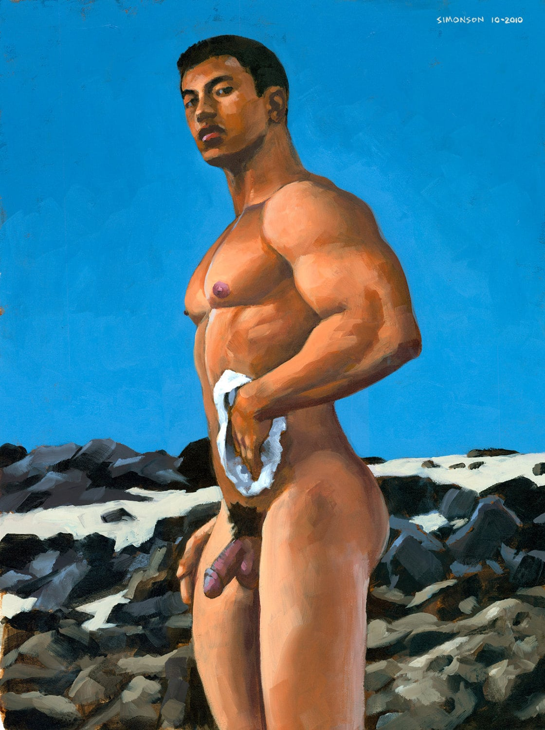 rocky beach 21x28 original acrylic painting of asian male