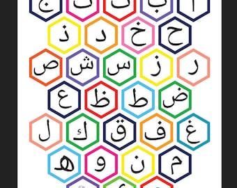 Printable Multicoloured Hexagon Arabic Alphabet Art Print- Instant Download
