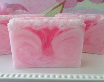 Pink Grapefruit Sea Salt Soap - handcrafted glycerin soap