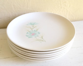 Matching Vintage Taylor Boutonnière Ever Yours Floral Small Plates 6 Turquoise Teal Aqua and Pink Cream