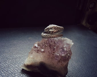 asp - snake midi knuckle ring - SILVER snake ring - snake wrap ring - wrap around ring - gift for witches - occult rings - goth jewelry