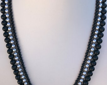 Swarovski Pearl Black and Silver Multistrand Necklace