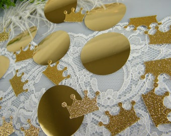 Gold Crown Tiara & JUMBO Gold Circle Confetti Royal Prince Princess Party | Gold Party Decoration | Graduation | Unique Table Scatter