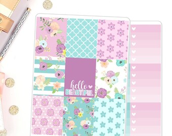 Hello Beautiful Weekly Kit for use in Erin Condren Vertical Deluxe Weekly Kit Planner Stickers