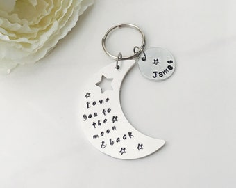 Hand Stamped love you to the moon and back Keyring