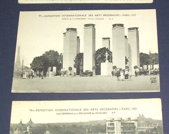 Three 1925 French Art Deco Exposition postcards