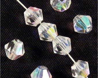 Set of 30 6mm Crystal - Crystal AB bicone beads
