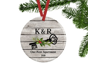 Our First Apartment Ornament, Skeleton Key Christmas Ornament, Personalized Couples Ornament, Rustic Christmas Decor, Apartment Warming Gift
