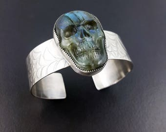 Labradorite Skull Cuff, skull bracelet, skull jewelry, skull, carved skull, blue silver, sterling silver, halloween, michele grady, cuff