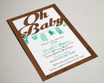 Rustic Shabby Chic Faux Wood Oh Baby Shower Invitation, Woodland,dyLayered Invite, Watercolor, Cut Out, Clothesline, Envelopes Included