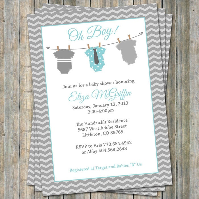 Onesie Baby shower Invitation oh baby shower aqua and gray
