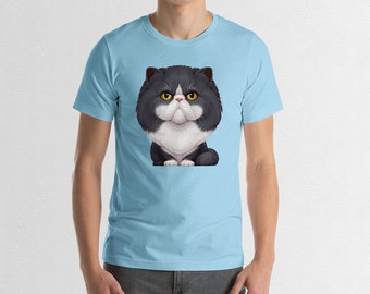 Black and White Persian Cat T-Shirt