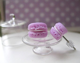 Mini Pink Macaron Stud Earrings _ 1/12 Dollhouse Scale Miniature Food _ Polymer Clay