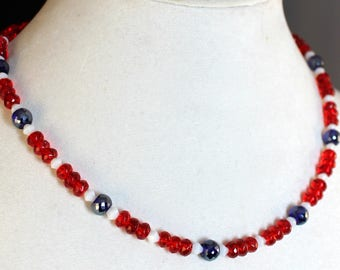 Red White Blue Crystal Beaded Necklace
