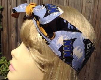 Pin up head band, vintage inspired Batman Symbol! PinUps by Gracie, retro headband