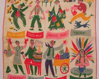 """Vintage Designer Carl Tait """"Rich Man Poor Man"""" Handkerchief"""