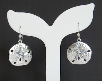 Sterling Silver Sand Dollar Earrings, Nautical Jewelry, Beach Jewelry, Birthday Gift, Mother's Gift