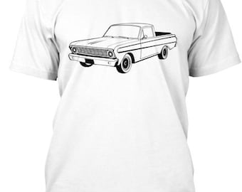 1964-65 Ford Ranchero Custom Hot Rod Antique Classic Muscle Car Graphic Tee, Mens Tee , Line Art
