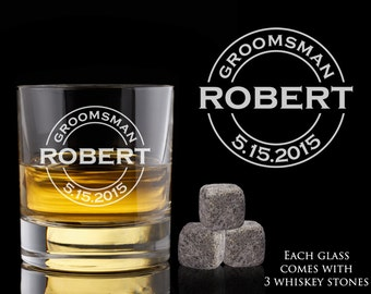 Personalized Whiskey Glass - Groomsman Gift - Whiskey Stones - Engraved Scotch Glass - Wedding Gift - Best Mans Gift - Wedding Keepsake