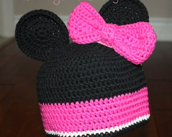 Minnie Mouse inspired Crochet Hat with Ears and removable Bow Hair Clip - Newborn through Adult Sizes