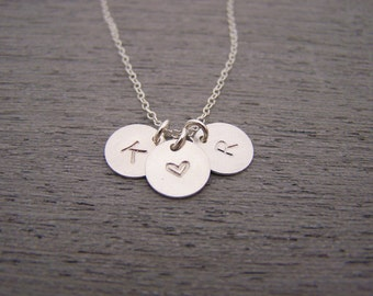 Two Initial Three Disc Heart Hand Stamped Personalized Sterling SIlver Necklace / Gift for Her