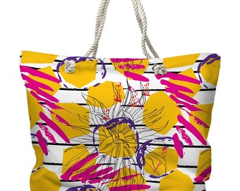 Gypsy Girl Tote Bag, Beach Tote Bag, Coastal Tote Bag, Tropical Tote Bag, Yellow and Pink Tropical Tote Bag, Resort Tote