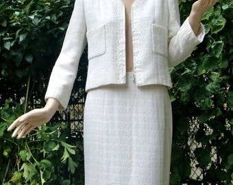 CHANEL White Boucle and Sequins Suit