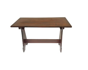 Vintage Farmhouse Trestle Table Country Rustic Double Pedestal Country Kitchen Worktable Farmhouse Desk Dining Table